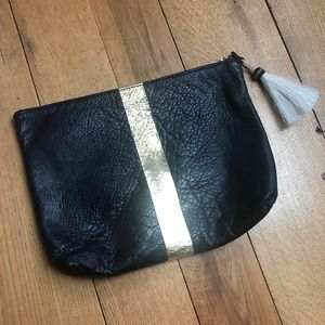 Kempton & Co Pebbled Leather Clutch w/ Horsehair